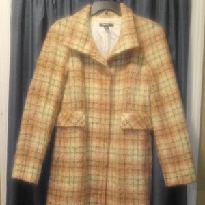 Dkny plaid wool trench coat.